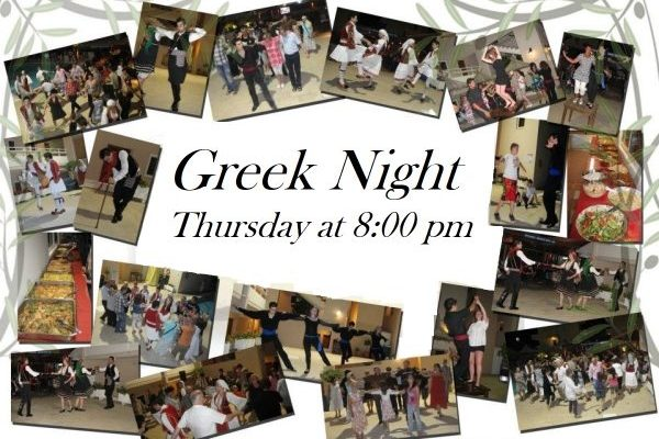 Eat, drink and dance tradional Greek theme